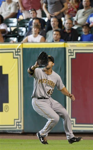 Pittsburgh Pirates' Garrett Jones (46) catches a ball for an out against the Houston Astros in the fourth inning of a baseball game on Sunday, July 29, 2012, in Houston. (AP Photo/Eric Kayne)