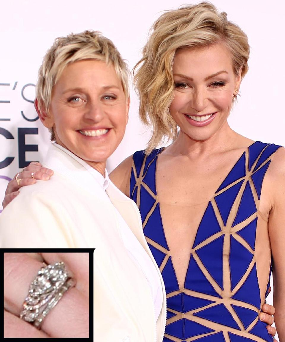 """<p>Ellen DeGeneres proposed to actress Portia de Rossi in 2008 with a Neil Lane marquis-cut <a rel=""""nofollow noopener"""" href=""""http://www.instyle.com/news/ellen-portia-eva-and-more-come-out-fete-neil-lane"""" target=""""_blank"""" data-ylk=""""slk:diamond"""" class=""""link rapid-noclick-resp"""">diamond</a> set with pink diamonds. The couple wed in August of the same year.</p>"""
