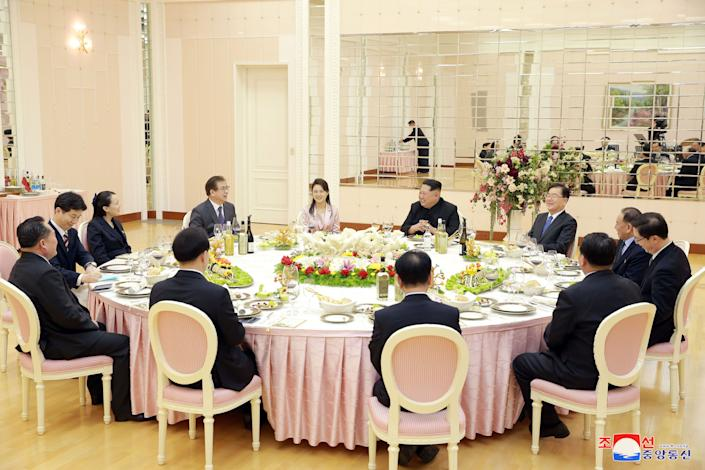 A dinner is prepared for members of the special delegation of South Korea's President.