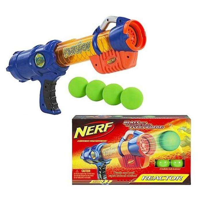 """<p><strong>Nerf</strong></p><p>walmart.com</p><p><strong>$34.99</strong></p><p><a href=""""https://go.redirectingat.com?id=74968X1596630&url=https%3A%2F%2Fwww.walmart.com%2Fip%2F199720379%3Fselected%3Dtrue&sref=https%3A%2F%2Fwww.bestproducts.com%2Fparenting%2Fg37696840%2Fgifts-for-5-year-old-boys%2F"""" rel=""""nofollow noopener"""" target=""""_blank"""" data-ylk=""""slk:Shop Now"""" class=""""link rapid-noclick-resp"""">Shop Now</a></p><p>Whether firing off darts in the backyard or conducting sneak assaults around the house, it's all fun and games with this Nerf Blaster. Instead of the traditional Nerf dart, this toy shoots foam balls. Just load them into the front and use air pressure to push them out.</p>"""
