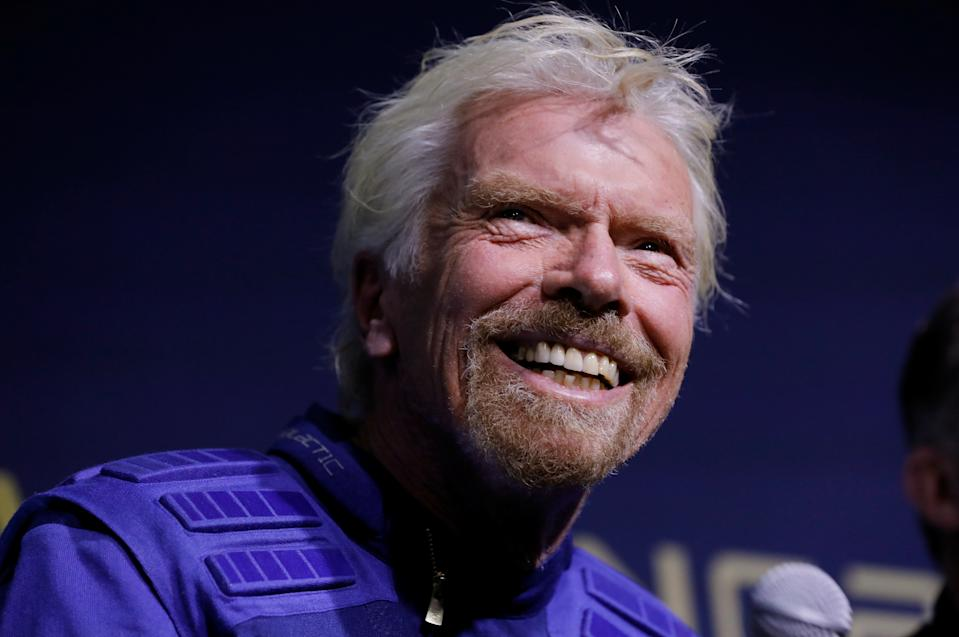 Sir Richard Branson wears Virgin Galactic's new space-wear system, developed in partnership with Under Armour, during an event to unveil the suits to be worn by future Virgin Galactic space travelers, in Yonkers, New York, U.S., October 16, 2019. REUTERS/Mike Segar