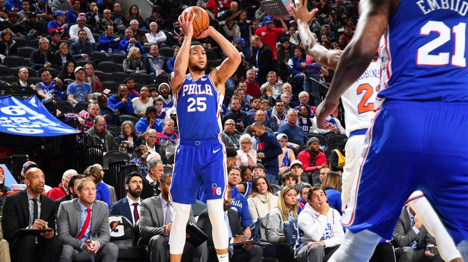 Ben Simmons for the 76ers shooting and sinking his first 3-pointer in the NBA.