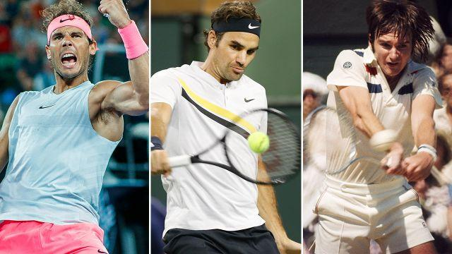 Nadal, Federer and Connors. Image: Getty
