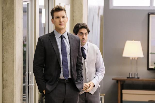 Scott Michael Foster as Nathaniel and Danny Jolles as George in <em>Crazy Ex-Girlfriend</em>. (Photo: Tyler Golden/The CW)