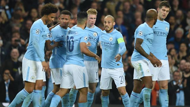 <p>Man City players celebrate</p>
