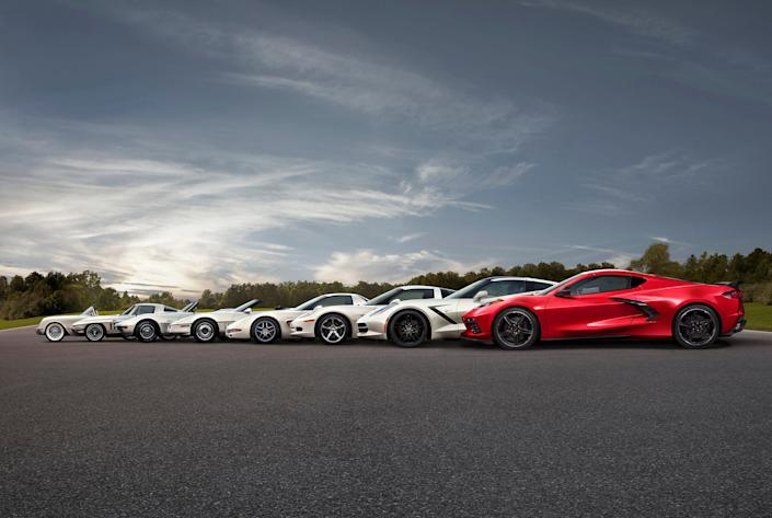 All eight generations of the Chevrolet Corvette.