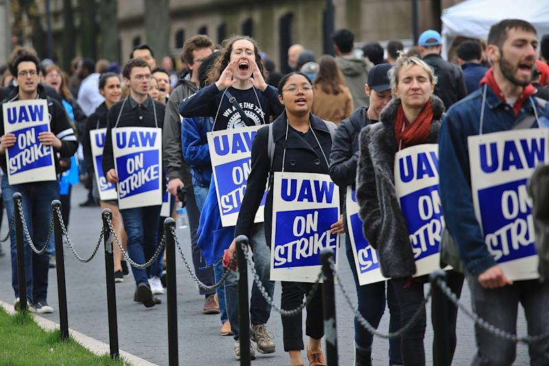 Grad students at Columbia University went on strike last year after the school refused to recognize their union. Now the school is bargaining. (Photo: ASSOCIATED PRESS)