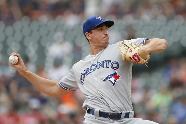 Toronto Blue Jays starting pitcher Jacob Waguespack throws during the first inning of a baseball game against the Detroit Tigers, Sunday, July 21, 2019, in Detroit. (AP Photo/Carlos Osorio)