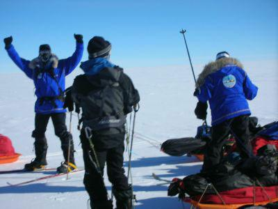 The team celebrates after a long day of skiing. Dr. Heather Ross and her team are on day 10 of their journey to the South Pole.
