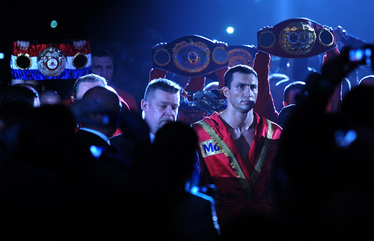 Ukrainian heavyweight boxing world champion Wladimir Klitschko arrives to fight with French challenger Jean-Marc Mormeck in the IBF, IBO, WBO and WBA title bout at the Esprit arena in the western German city of Duesseldorf on March 3, 2012. Klitschko won the fight with a 4th round knockout.  AFP PHOTO / PATRIK STOLLARZ (Photo credit should read PATRIK STOLLARZ/AFP/Getty Images)