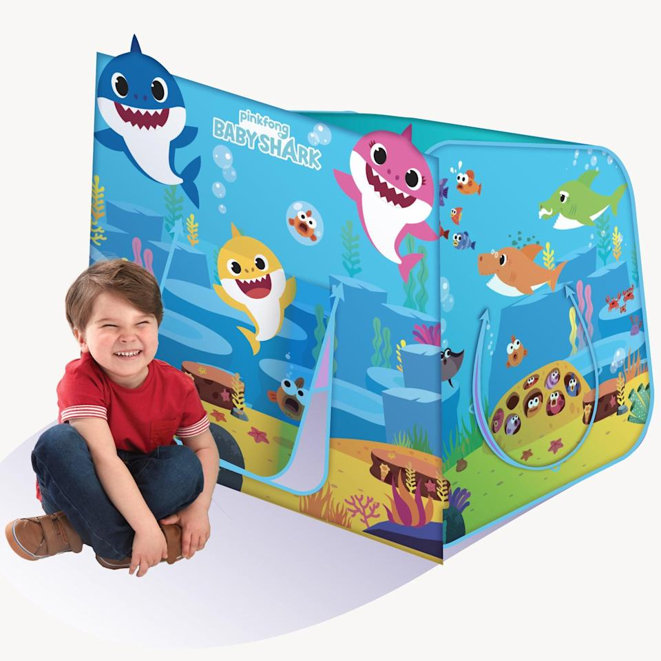 <p>This pop-up <span>Baby Shark Hide N Play Structure</span> ($21) would make for a seriously cozy play space or fort for twins to hang out in.</p>