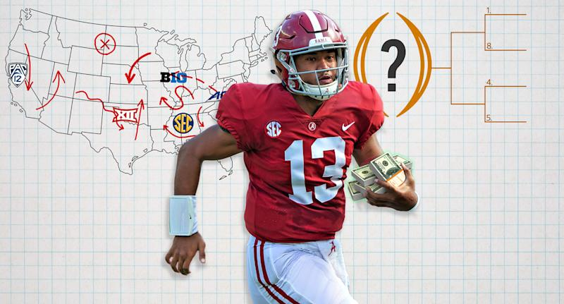 With College Football Playoff expansion, realignment and player compensation in the minds of the sport's fans, will power brokers actually get anything done? (Yahoo Sports illustration)