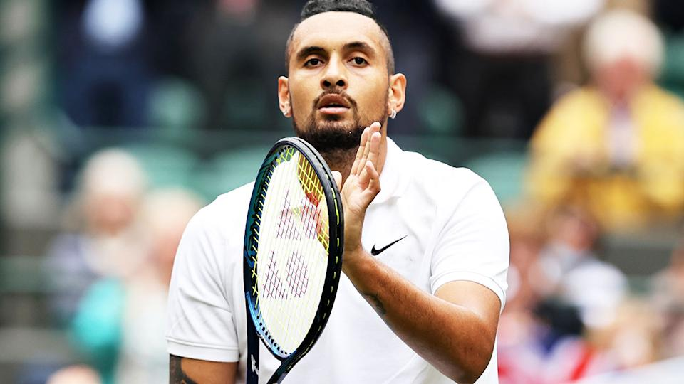 Nick Kyrgios, pictured here celebrating his victory over Ugo Humbert at Wimbledon.