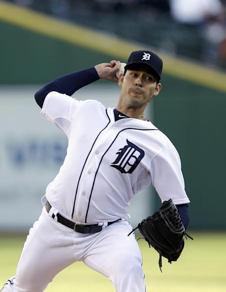 Detroit Tigers starting pitcher Anibal Sanchez throws during the second inning of a baseball game against the Minnesota Twins in Detroit, Friday, May 24, 2013. (AP Photo/Carlos Osorio)