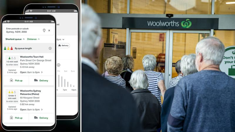 Photo shows a crowd of older people lined up waiting to enter a Woolworths store. Source: AAP