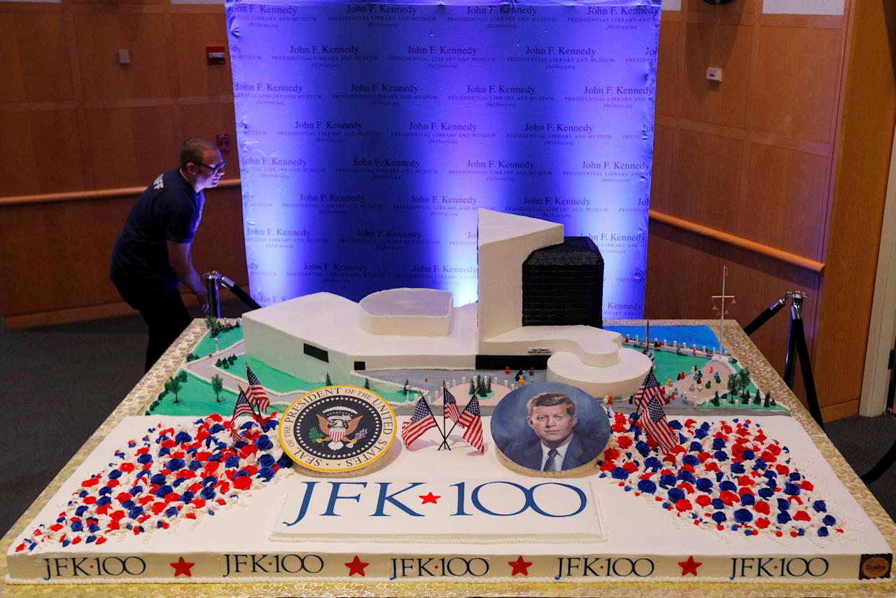 Workers display a large birthday cake on the 100th anniversary of the birth of President John F. Kennedy on May 29, 1917, at the John F. Kennedy Presidential Library in Boston, Massachusetts, U.S., May 29, 2017.   REUTERS/Brian Snyder TPX IMAGES OF THE DAY  FOR EDITORIAL USE ONLY. NO RESALES. NO ARCHIVES.