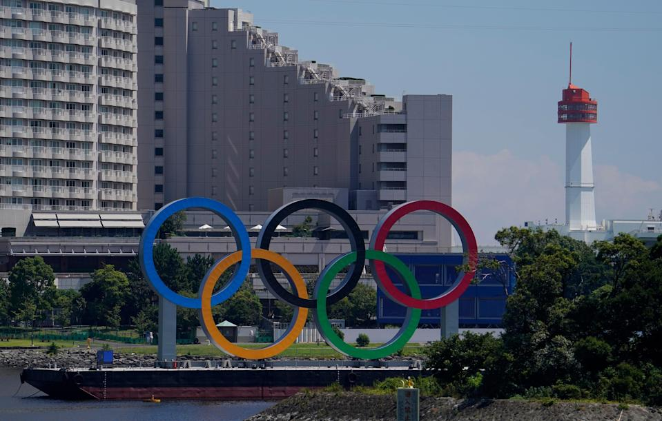 A general view of the Olympic Rings in Odaiba before the Tokyo 2020 Summer Olympic Games.