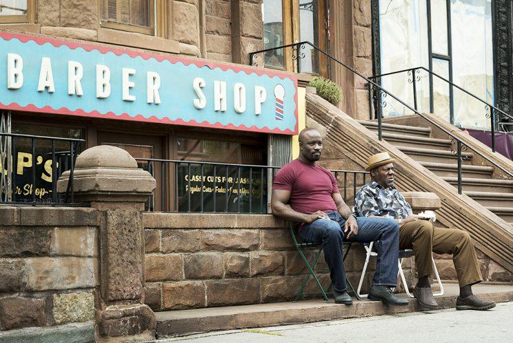 Mike Colter and Frankie Faison in 'Luke Cage' (Credit: Myles Aronowitz/Netflix)