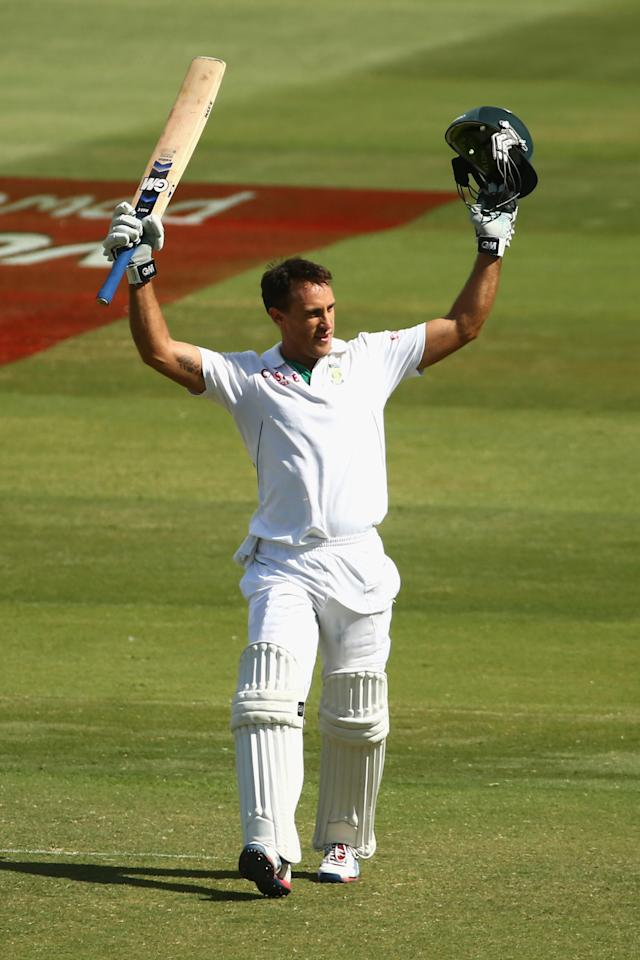 ADELAIDE, AUSTRALIA - NOVEMBER 26: Faf du Plessis of South Africa celebrates scoring his century during day five of the Second Test Match between Australia and South Africa at Adelaide Oval on November 26, 2012 in Adelaide, Australia.  (Photo by Mark Kolbe/Getty Images)