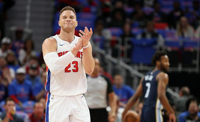 """<a class=""""link rapid-noclick-resp"""" href=""""/nba/teams/det"""" data-ylk=""""slk:Detroit Pistons"""">Detroit Pistons</a> forward <a class=""""link rapid-noclick-resp"""" href=""""/nba/players/4561/"""" data-ylk=""""slk:Blake Griffin"""">Blake Griffin</a> and his ex-fiancee, Brynn Cameron, denied reports on Friday that he was ordered to pay more than $250,000 per month in child support. (Getty Images)"""