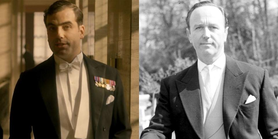 <p>Commander Michael Parker is portrayed by actor Daniel Ings. In real life, Parker served as Prince Philip's equerry for nearly a decade and was present for the Duke of Edinburgh's five-month tour on the <em>Britannia</em> (a royal yacht, casually) in 1956, which is featured prominently in season 2. In the wake of his divorce from Eileen Parker (see next slide), Parker was forced to resign.</p>
