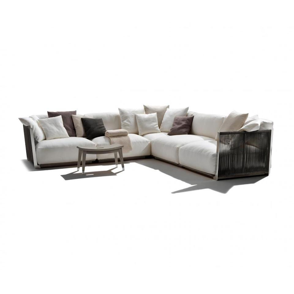 """<p>Ideal for beside the pool, this sofa's cushions are upholstered in a fabric that is resistant to chlorine and salt water, as well as rain showers. Designed by Antonio Citterio, it also features a stylish and highly durable stainless steel frame. From £16,188, <a href=""""https://www.flexform.it/en/outdoor/products/sofas-sectional-sofa-ottomans/vulcano#gref"""" rel=""""nofollow noopener"""" target=""""_blank"""" data-ylk=""""slk:Flexform"""" class=""""link rapid-noclick-resp"""">Flexform</a></p>"""