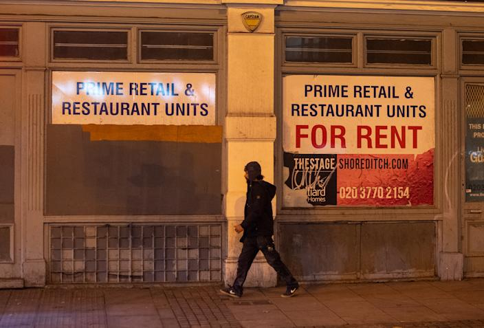 Closed pubs and restaurants in Shoreditch, east London, at the end of the first full week of the four week national lockdown in England. (Photo by Dominic Lipinski/PA Images via Getty Images)