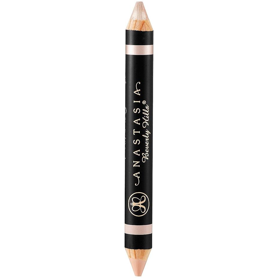 "<p>This highlighting pencil adds a polished, final touch to overachieving brows. Apply the matte or shimmery end of the <a href=""https://www.popsugar.com/buy/Anastasia-Beverly-Hills-Highlighting-Duo-Pencil-584137?p_name=Anastasia%20Beverly%20Hills%20Highlighting%20Duo%20Pencil&retailer=sephora.com&pid=584137&price=23&evar1=bella%3Aus&evar9=41950877&evar98=https%3A%2F%2Fwww.popsugar.com%2Fbeauty%2Fphoto-gallery%2F41950877%2Fimage%2F41950880%2FAnastasia-Beverly-Hills-Highlighting-Duo-Pencil&list1=makeup%2Ceyebrows%2Cbeauty%20shopping%2Canastasia%20beverly%20hills&prop13=mobile&pdata=1"" class=""link rapid-noclick-resp"" rel=""nofollow noopener"" target=""_blank"" data-ylk=""slk:Anastasia Beverly Hills Highlighting Duo Pencil"">Anastasia Beverly Hills Highlighting Duo Pencil</a> ($23) under your arch to accentuate it, or apply it all over as a <a href=""https://www.popsugar.com/beauty/Highlighter-Hacks-Strobing-Makeup-Tutorial-38029846"" class=""link rapid-noclick-resp"" rel=""nofollow noopener"" target=""_blank"" data-ylk=""slk:strobing product"">strobing product</a>.</p>"