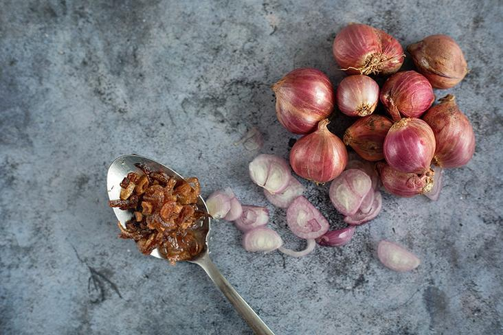 Garnish the dish with some fried shallots for an aromatic finish.