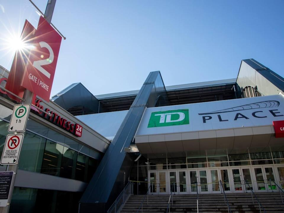 The Ottawa 67's are set to play their home opener at TD Place Arena on Sunday. The Ontario government lifted capacity restrictions for sports stadiums and a range of other venues the day before. (Andrew Lee/CBC - image credit)