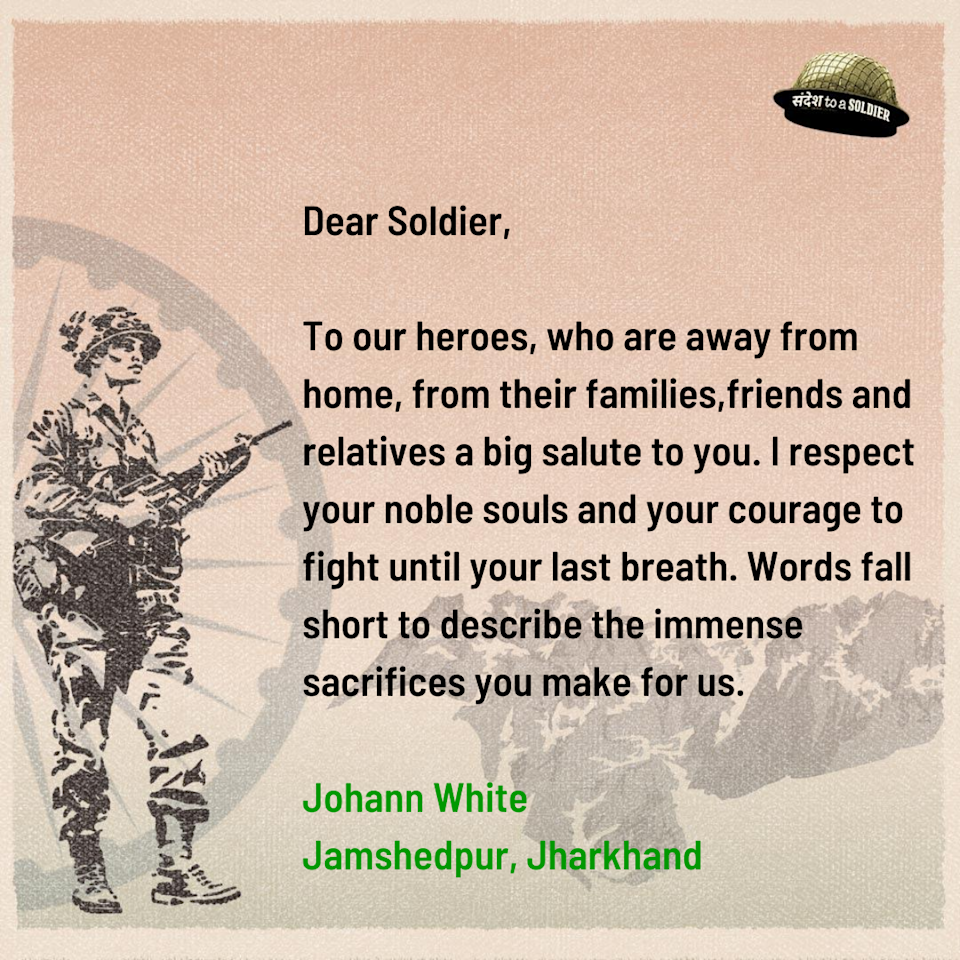 Johann White from Jharkhand sends his sandesh to a soldier.