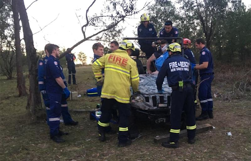 Rob was pinned for an hour-and-a-half while emergency services cut the tree from his leg. Source: Rob Wells