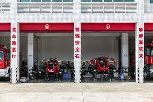 (EHang 216F in a fire station in Yunfu, China)