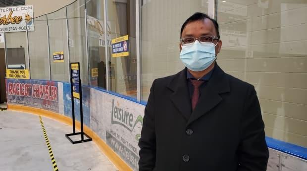 Dr. Wajid Ahmed, medical officer of health for Windsor-Essex, at the Libro Credit Union Centre vaccine clinic on March 29, 2021. (Tahmina Aziz/CBC - image credit)