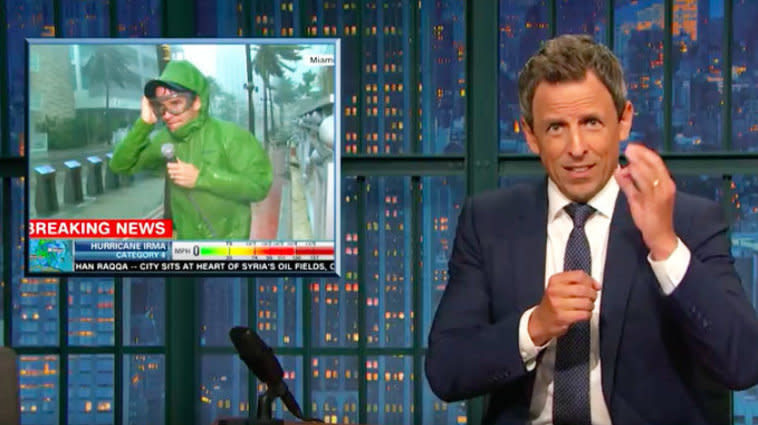 Seth Meyers Has 1 Thing To Say To Journalists Battling Hurricane Irma