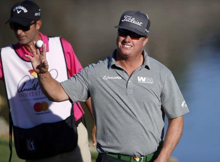 Mar 18, 2017; Orlando, FL, USA; Charley Hoffman reacts after making a long birdie putt on the 18th hole during the third round of the Arnold Palmer Invitational golf tournament at Bay Hill Club & Lodge . Mandatory Credit: Reinhold Matay-USA TODAY Sports