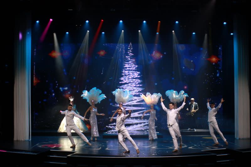 "A view of a Christmas show at the Dream Cruises' ""World Dream"" cruise ship"