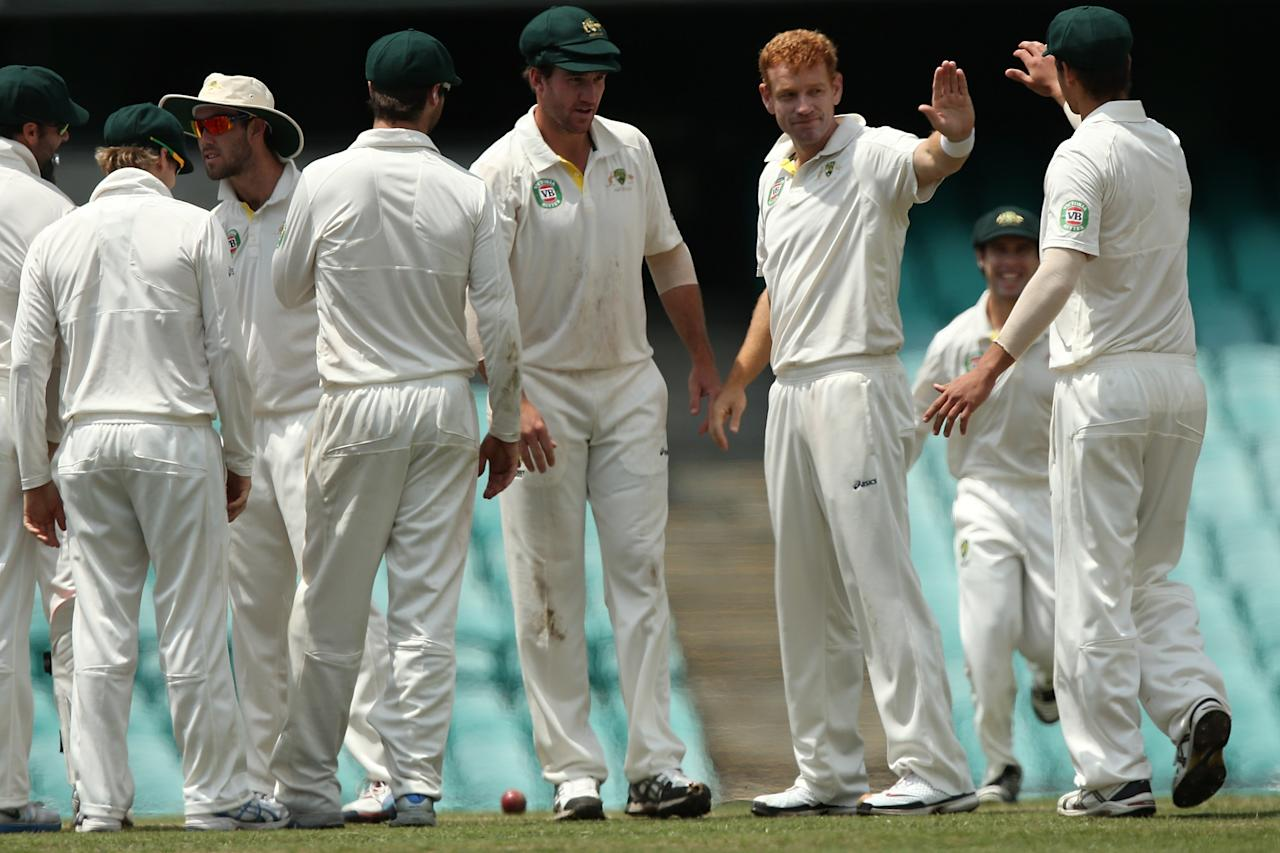 SYDNEY, AUSTRALIA - NOVEMBER 04:  Andrew McDonald of Australia A celebrates with team mates after bowling JP Duminy of South Africa during day three of the International Tour Match between Australia A and South Africa at Sydney Cricket Ground on November 4, 2012 in Sydney, Australia.  (Photo by Chris Hyde/Getty Images)