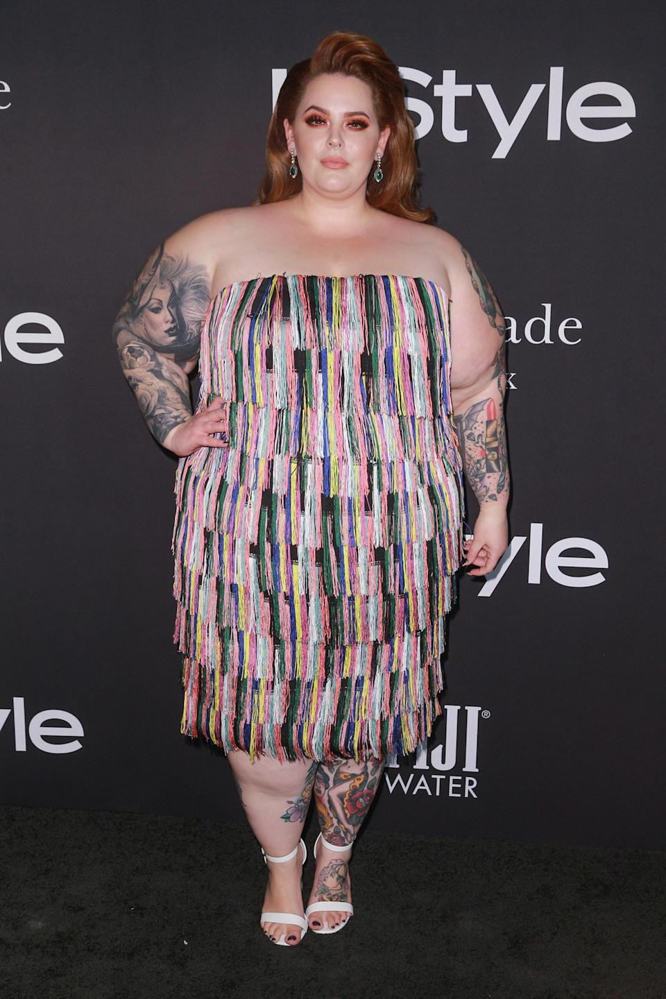 <p>The model sparkled in a fringe look from plus-size clothing company, ELOQUII. </p>