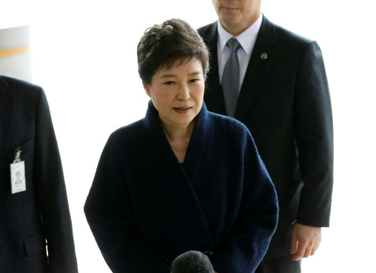 South Korea's ousted leader Park Geun-hye arrives to face questioning by prosecutors over the corruption and abuse of power scandal that brought her down, March 21, 2017