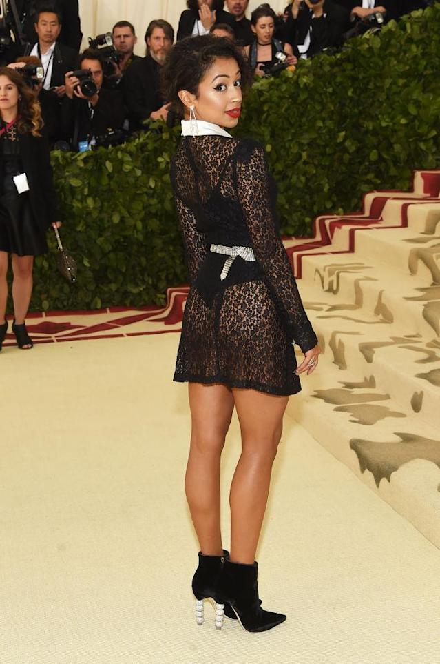 <p>Koshy bared her bottom in a see-through Alessandra Rich dress. (Photo: Getty Images) </p>