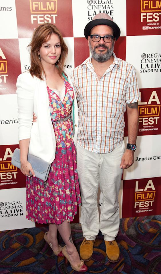 LOS ANGELES, CA - JUNE 20:  Actors Amber Tamblyn (L) and David Cross attend Film Independent's 2012 Los Angeles Film Festival Premiere Of 'It's A Disaster' at Regal Cinemas L.A. Live on June 20, 2012 in Los Angeles, California.  (Photo by Imeh Akpanudosen/Getty Images)
