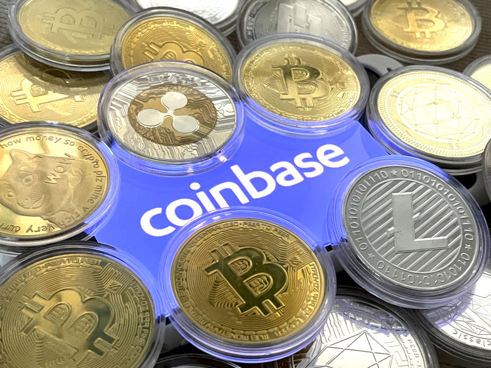 Photo by: STRF/STAR MAX/IPx 2021 2/26/21 Coinbase filed its S-1 on February 25th to go public, listing on the Nasdaq. Coinbase's IPO valuation could be the largest by a U.S. tech company since Facebook went public. STAR MAX Photo: Coinbase logo photographed off an iphone SE 2020.
