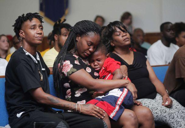 PHOTO: Britany Jacobs, 25, her 5-year-old son Markeis McGlockton Jr., and their cousin Mesha Gilbert, 26, during a vigil for Markeis McGlockton Sr., 28, at Mt. Carmel Baptist Church in Clearwater, Fla., July 22, 2018. (Octavio Jones/Tampa Bay Times via AP)