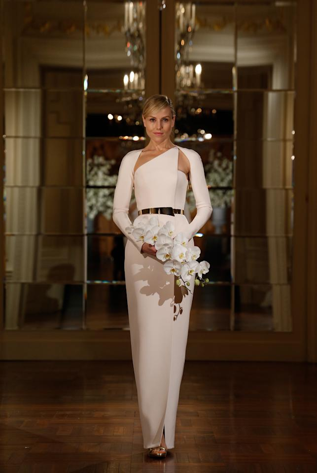 """<div class=""""caption-credit"""">Photo by: The Knot</div><div class=""""caption-title""""></div><b>2. This Asymmetrical Neckline</b> If you're into modern architecture and Picasso sculptures, this wedding dress from Romona Keveza's Spring 2015 collection is a geometric work of art. <br> <b>More from The Knot:</b> <a rel=""""nofollow"""" href=""""http://www.theknot.com/weddings/album/a-laid-back-vintage-wedding-in-bernardsville-nj-131947?cm_mmc=TKInline-_-Yahooshine-_-Most%20Edgy%20Wedding%20Dresses%20From%20Bridal%20Fashion%20Week!-_-a%20laid-back%20vintage%20wedding%20in%20bernardsville,%20nj"""" target="""""""">A Vintage Wedding In Bernardsville, NJ</a>"""