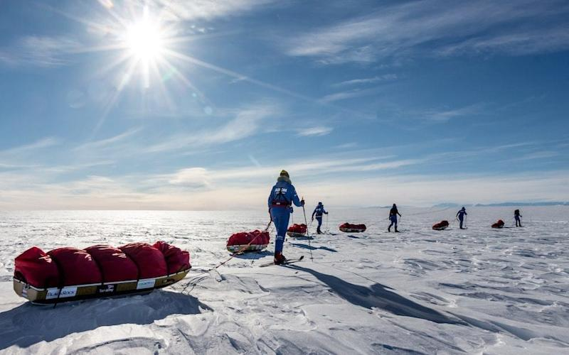The British Army team of six women became the first all-female team to cross Antarctica using only muscle power - PA