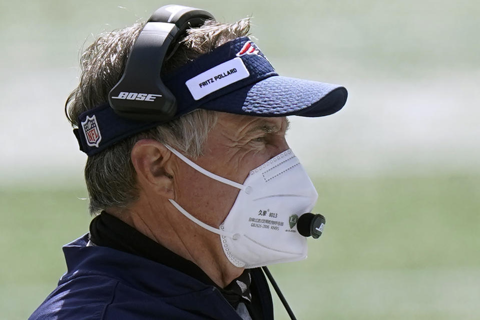 Bill Belichick wore a Fritz Pollard patch on his visor on Sunday, honoring the NFL's first Black head coach in 1921. (AP Photo/Steven Senne)