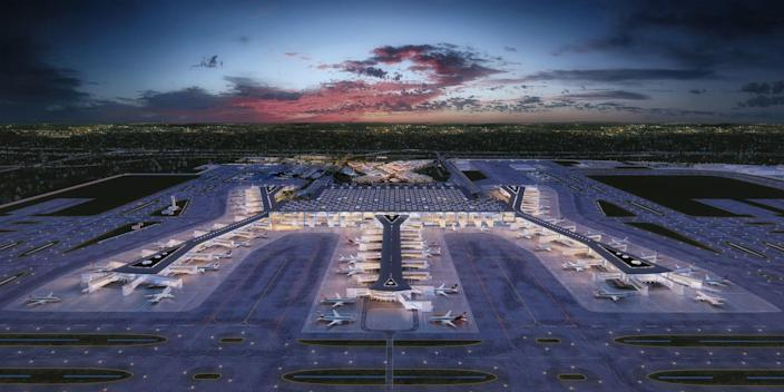 The just-opened Istanbul New Airport will be bigger than Manhattan when it's fully completed in 2027. The layout—inspired by Istanbul's history and culture—was dreamt up by London-based firm Grimshaw, along with Haptic and Nordic. The control tower looks like a tulip (Turkey's national flower), and the main transit hall is molded after the Bosphorus Strait.