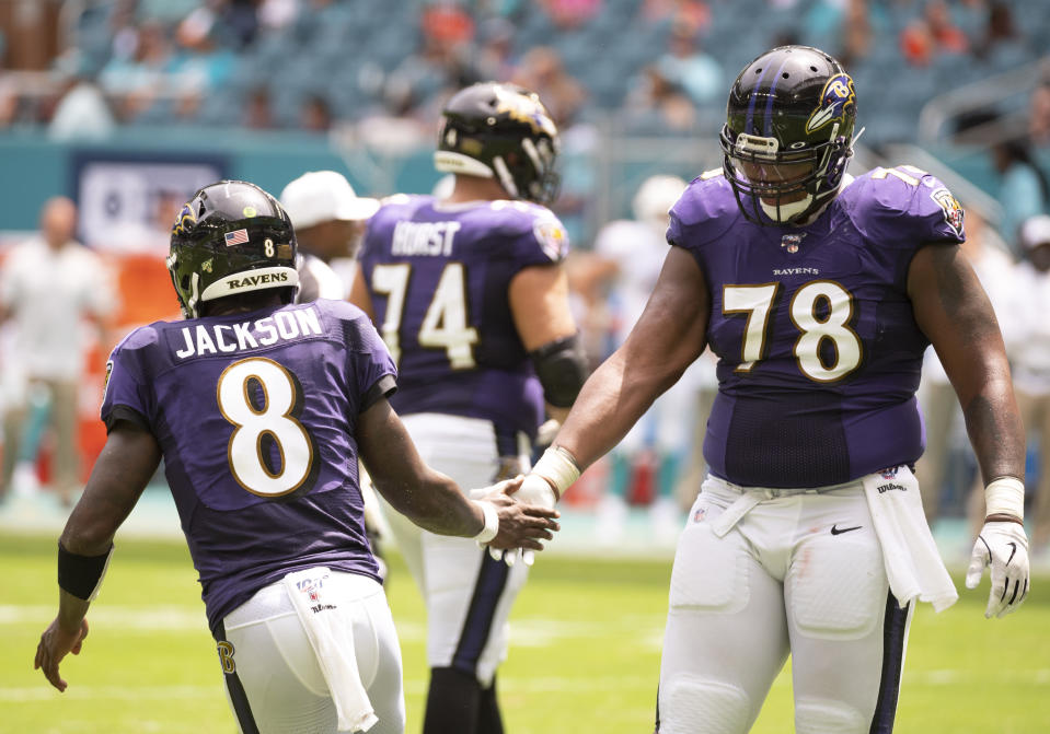 Baltimore Ravens quarterback Lamar Jackson (8) and offensive lineman Orlando Brown Jr. were both criticized for how they approached the NFL combine, and their careers have turned out alright. (Photo by Doug Murray/Icon Sportswire via Getty Images)
