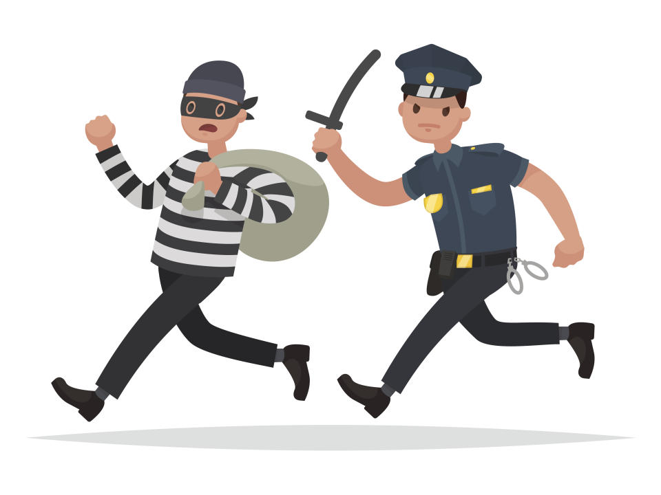 Policeman chasing a thief. The concept of combating crime. Vector illustration in a flat style